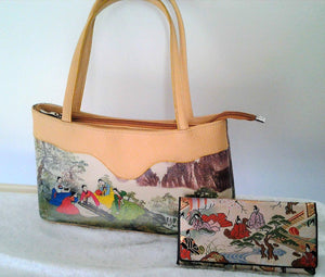 Vintage Scenic Japan Vintage Handbag with embroidered Purse