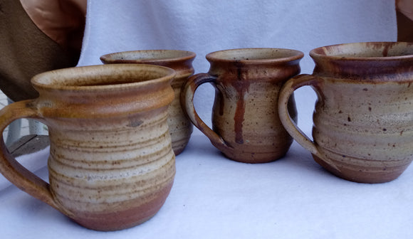 1990's Set Four Pottery Hand Crafted Mugs