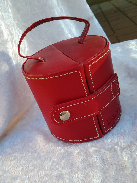 Portable Red Faux Leather Barrel Jewellery Holder