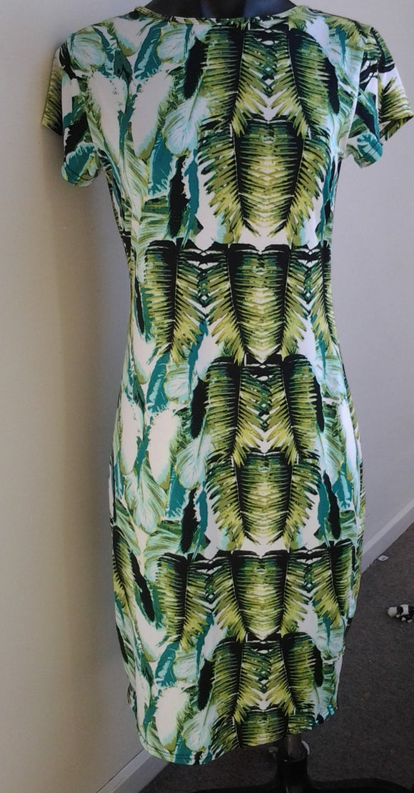 Vintage Green Palm Leaf Ladies Size L Dress