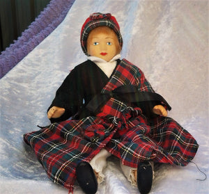 Small Scottish Porcelain Doll Articulated