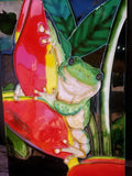 Hand Painted Frog Ceramic  Hanging Tile
