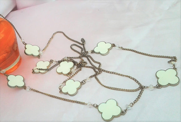 Hippy White Enamelled Silver Chain Necklace