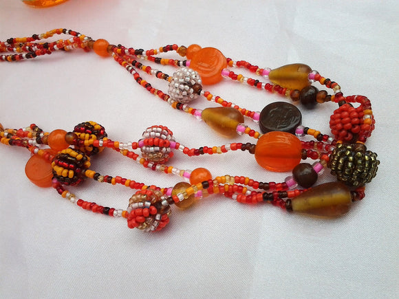 Vintage Orange Multi-strand Glass Bead Necklace