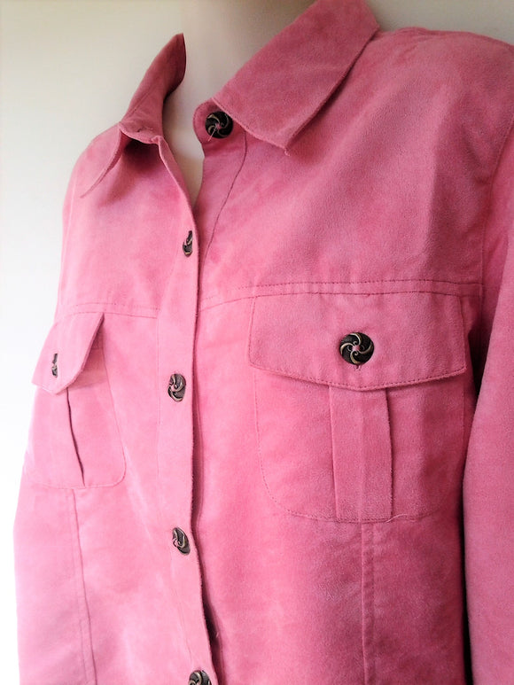 Vintage Ladies Faux Suede Pink Salmon Long Sleeve Shirt Size 12