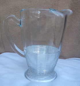 Retro Pressed Glass Water Pitcher Jug Ribbed Base