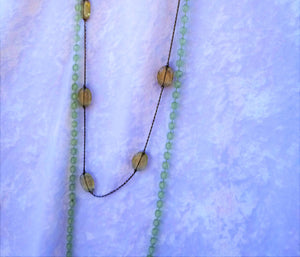 Long Faceted Mint Beads with Gunmetal Snake Chain with Oval Smoky Faux Glass Bead Necklaces