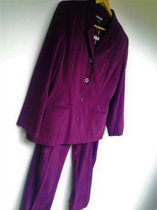 Vintage Crossroads Dark Grape Ladies Faux Suede Pant Suit Size 14