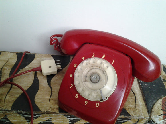 1969 Red Rotary Dial Up Telephone