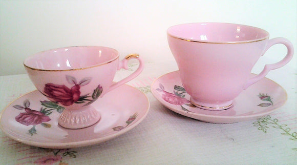 Pink Fine China Mismatched Mother and Daughter ROSE Tea Cups