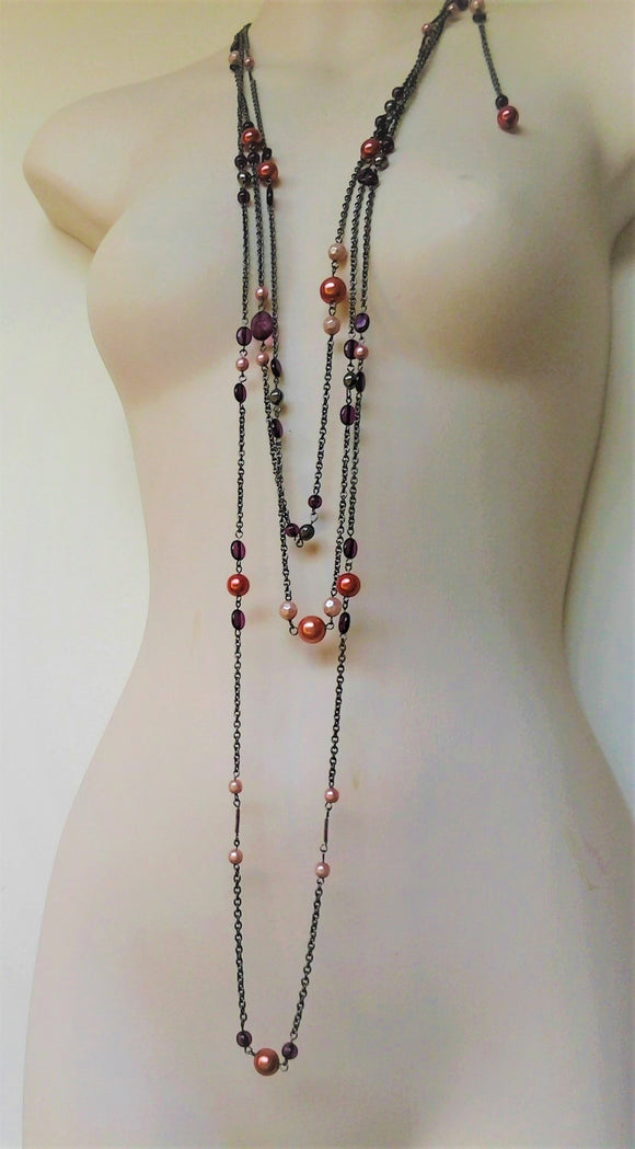 1920s Style Long Multi Strand Antique Silver Chain Necklace