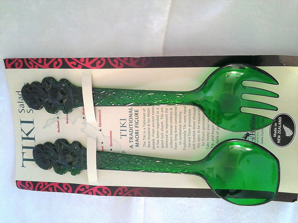 Tiki Green Plastic Salad Servers