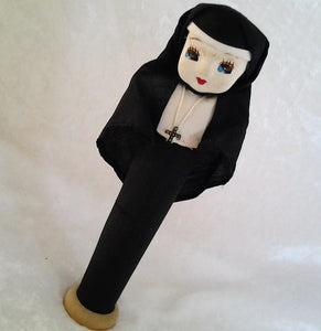 Recycled Cotton Reel Handcrafted Vintage Nun Figurine