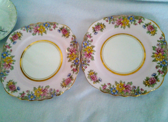 Pair English Colclough Bone China Pink Cake Side  Plates
