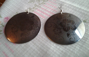 Vintage Silver Large Disk Earring with Floral Etching