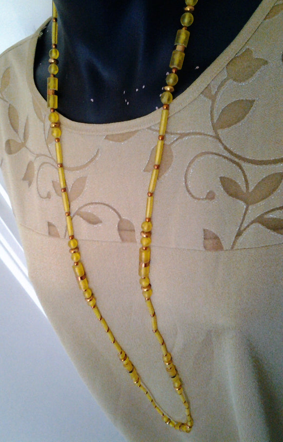 1960's Long Yellow Cylinder   Beaded Necklace