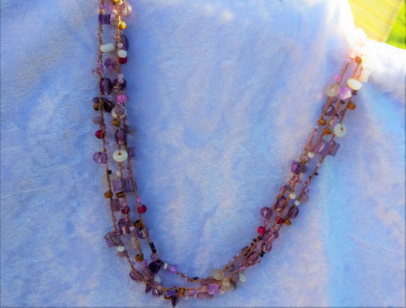 Amethyst Stone Chips Multi-Strand  Necklace