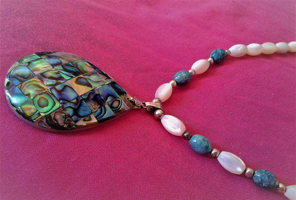 Paua Pendant Cultured Pearl & Turquoise Beaded Necklace