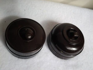 Australian 1930s Brown Bakelite Toggle Light Switches