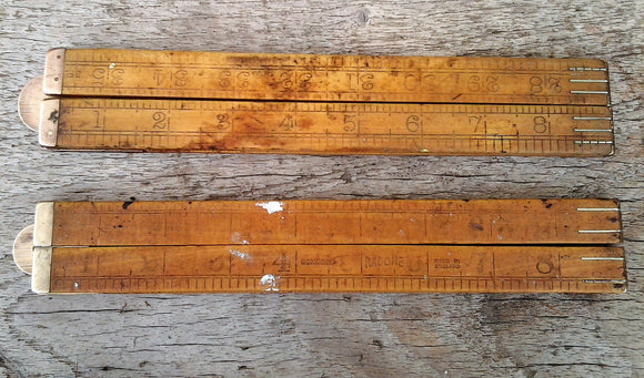 Vintage Boxwood Folding Rabone Rulers Collectible Daughtsman Tools Worn Rustic