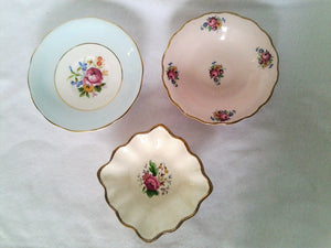 Vintage English Bone China Rose Pattern Dishes - Individual or All