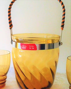 1960's Amber Glass Ice Bucket