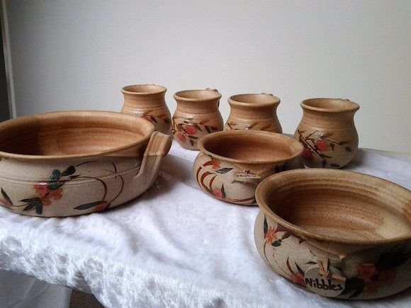 Vintage Handcrafted Hand painted Pottery Mugs and Bowls - Australian Pottery