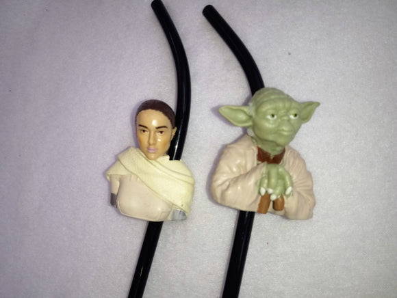 Two Collectors Star Wars Character Straws - Princess Leia and Yoda