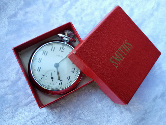 1972 Chrome Plated Smiths Mans Open Faced Pocket Watch in Original Box