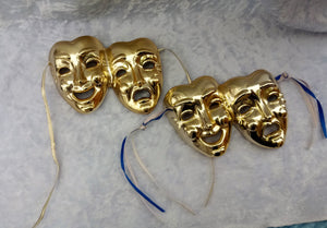 Gold Pair Tragedy Comedy Wall Hangings