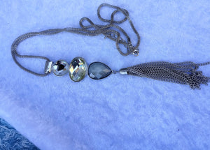 Vintage Sparkling Silver Chain with Large Pendant  and Tassel