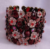 1980s Chunky Enamel Flower and Faux Jewels  Cuff Bracelet