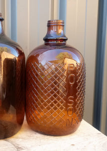 Massive Vintage Embossed Amber Poison Bottle