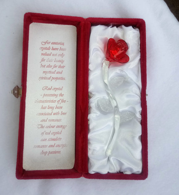 Vintage Crystal Red Rose Gift Boxed