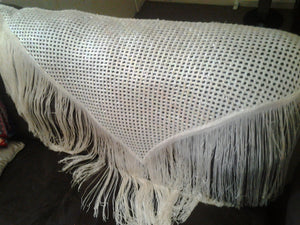 Vintage  Cream Crocheted Sequin Shawl - Piano Scarf