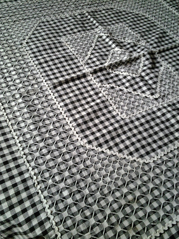 Retro Chequered Cafe Square Tablecloth  Black and White