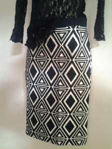 1990s Abstract Office Skirt Size 8