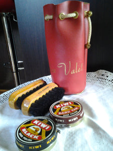 Vintage Shoe Valet Bag with KIWI coin open tins and brushes - 60's Mid Century