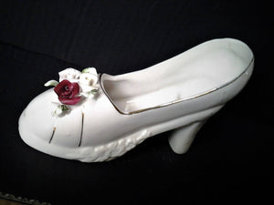 Vintage Porcelain Shoe with Porcelain Flowers