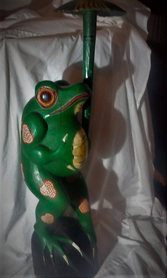 1990's Large Hand Carved and painted Wooden Frog