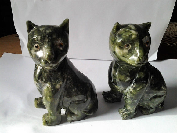 Vessonite Hand Carved  Cats with Glass Eyes