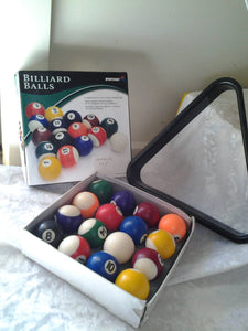 1990's Boxed Small Billiard Balls w/ Triangle