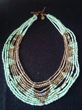 Vintage Turquoise and Pyrite OR Coral Multistrand Beaded Bib Necklace