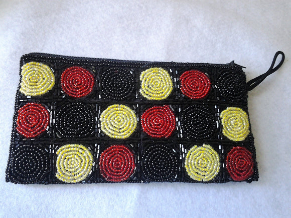 1970s Cream and  Black Beaded Purse  FREE POSTAGE