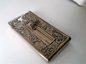 Antique Silver plated Patented Edwardian Era Stamp Holder marked J.W.B
