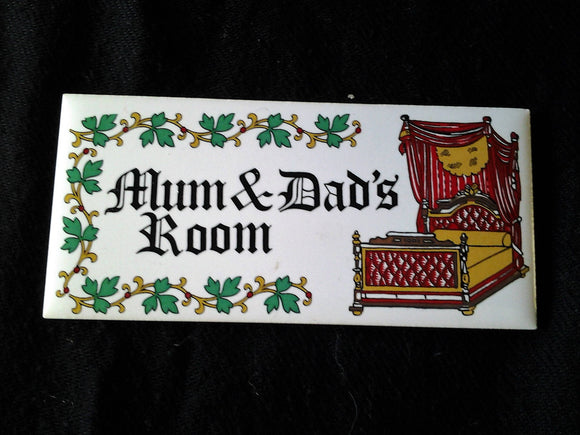 1970's Ceramic Vintage Mum & Dad's Room Sign