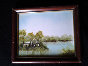 Small Vintage Painting of Shack in Swamp by Dick Anderson - Early 90s - Original Painting NOT PRINT