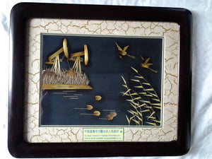Vintage Diorama of Storks in Panjin, China in Stained red wood frame - original Box