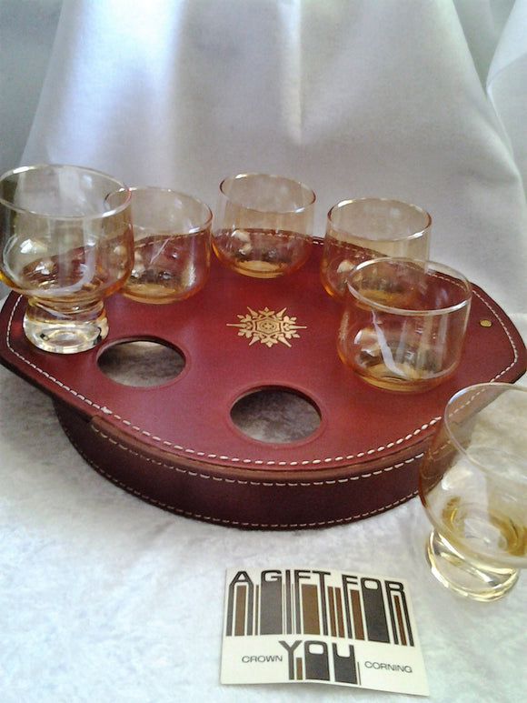 1970s  Lustre Glasses in Leather  Drink Holder Tray