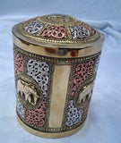 Embossed Brass Elephant Cigar Tobacco Jar